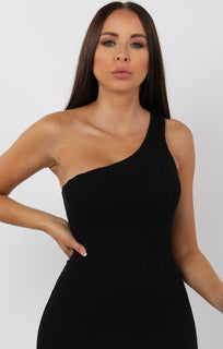 Black Knitted One Shoulder Mini Dress - Sorcha sale FemmeLuxe