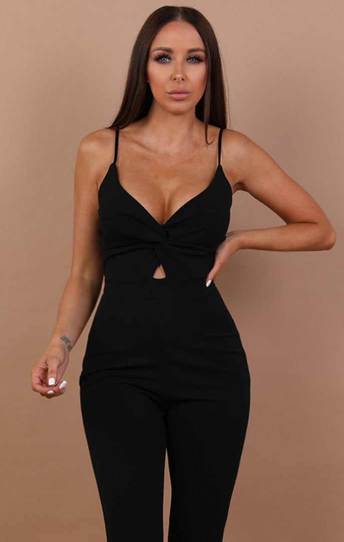 Knot Front Jumpsuit - Madison Black