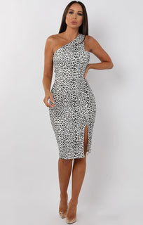 Black-Leopard-Print-One-Shoulder-Midi-Dress-Cindy