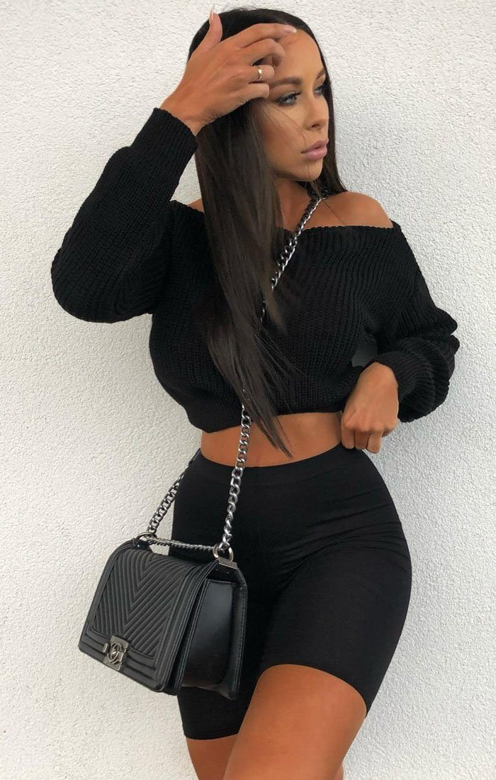 Black Off Shoulder Knitted Jumper - Aspen
