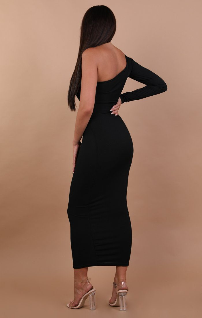 Black One Shoulder Maxi Dress - Opal