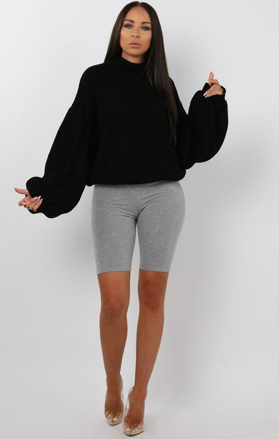 Black Oversized Bloom Sleeve Knitted Jumper - Roisin