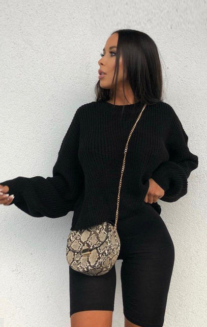 Black Oversized Crop Jumper - Shaunie