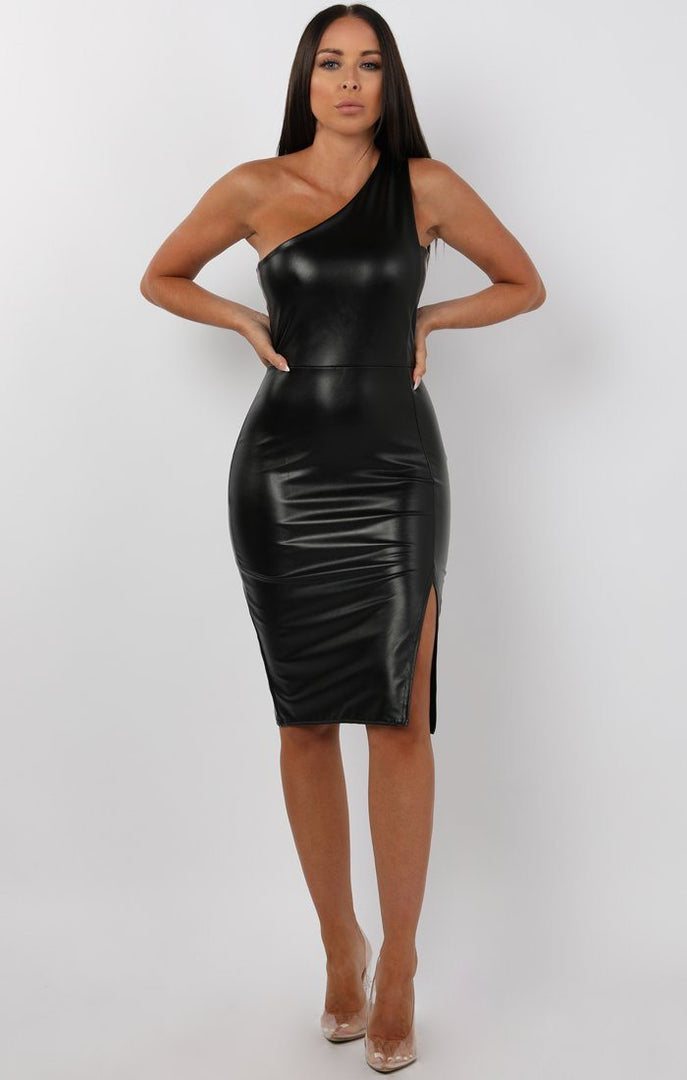 Black-PU-One-Shoulder-Midi-Dress-Sorcha