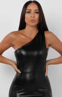Black PU One Shoulder Midi Dress - Sorcha