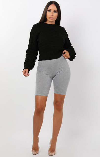 Black Ribbed Crop Bobble Stitch Knitted Jumper - April