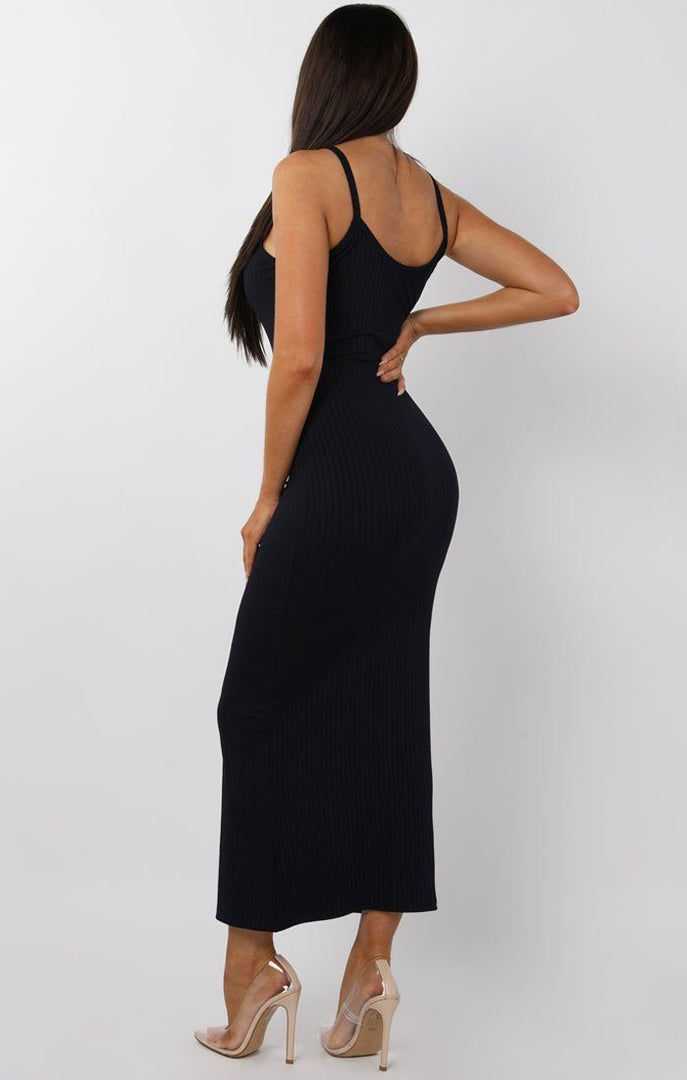 Black Ribbed Knit Button Detail Maxi Dress - Kaitlyn