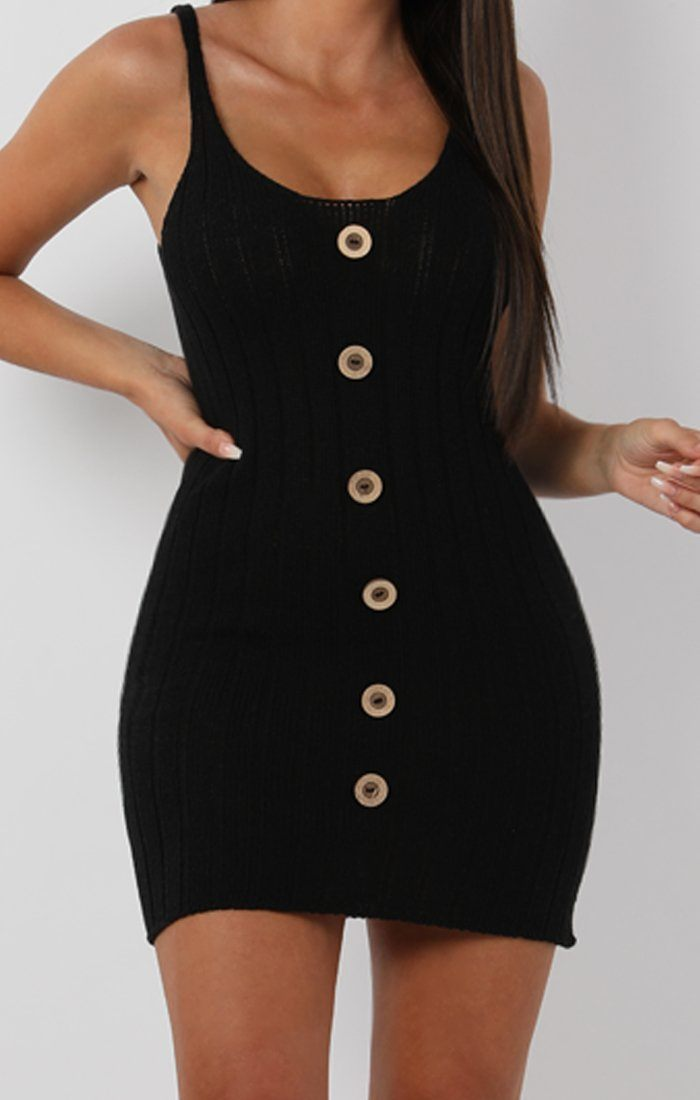 Black Ribbed Knit Button Detail Mini Dress - Kerry