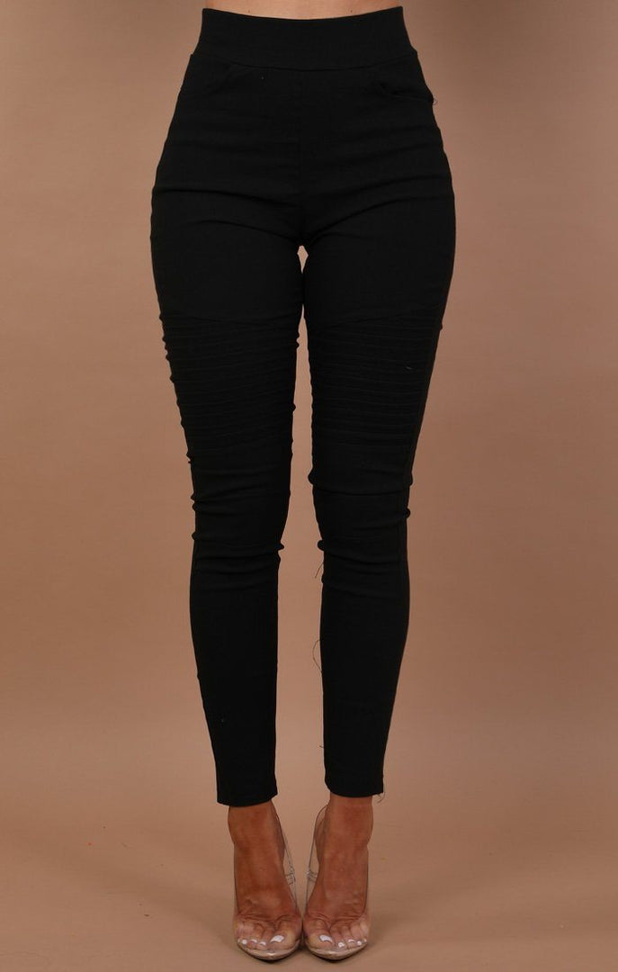 Black Ribbed Skinny Jeans - Leia