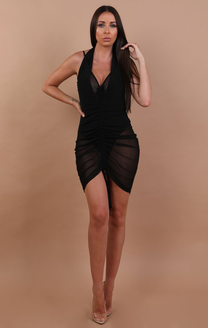 Black-Ruched-Front-Mesh-Mini-Dress-Alexandria