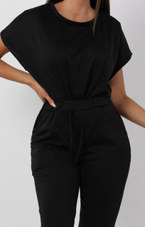 Black Short Sleeve Boxy Loungewear Set - Lacy sets FemmeLuxe