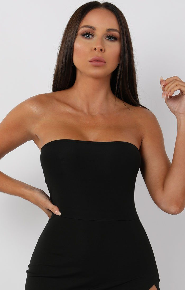 Black Side Split Bandeau Midi Dress - Tiffany
