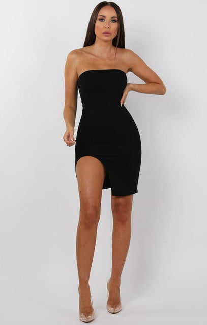 Black Split Leg Bandeau Mini Dress - Ailie