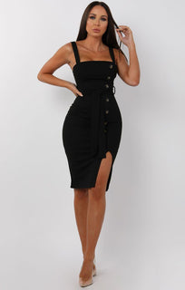 Black-Split-Leg-Belted-Button-Detail-Midi-Dress-Cassidy