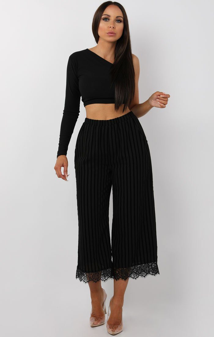 Black Stripe Lace Detail Culotte Trousers - Aelish