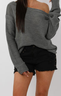 Black Studded Distressed Denim Shorts - Lara