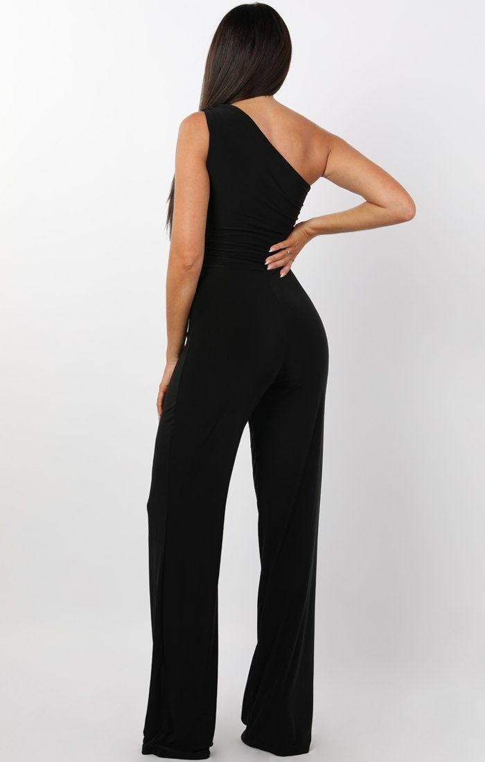 Black Tie Front One Shoulder Jumpsuit - Heather