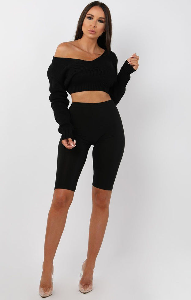 Black-V-Neck-Cropped-Jumper-Cordelia