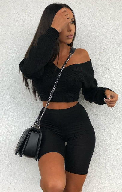 Black V-Neck Cropped Jumper - Cordelia