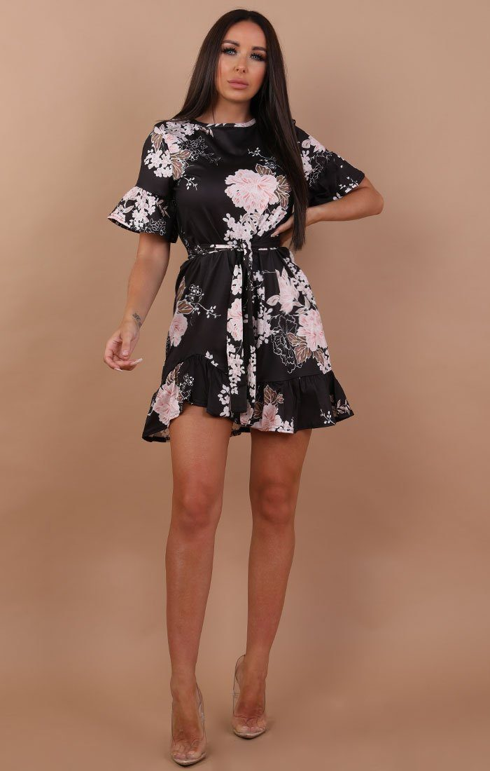Black and Nude Floral Frill Belted Tea Dress - Carly