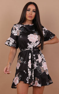 Black-and-Nude-Floral-Frill-Belted-Tea-Dress-Carly