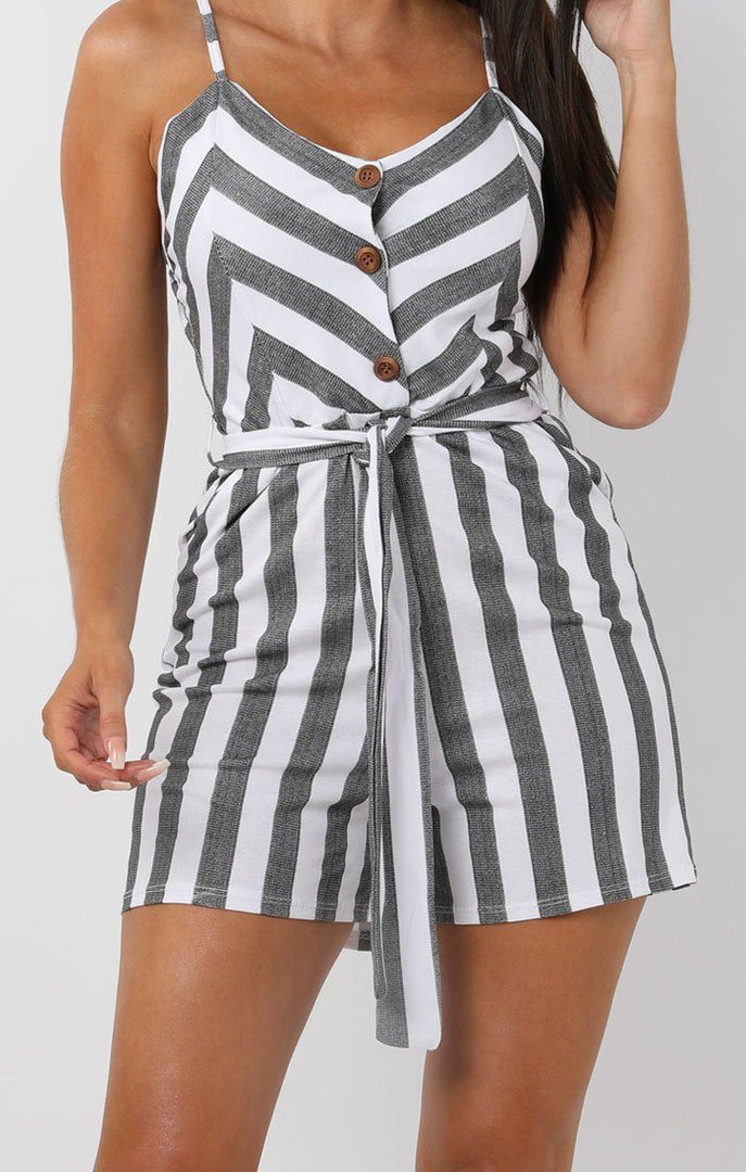 Black-and-White-Striped-Cami-Playsuit-Chantelle