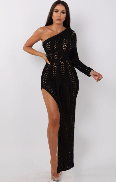 Black crochet one shoulder maxi dress - Skylar