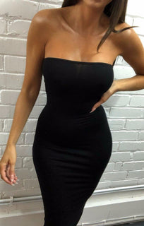 Black Bandeau Bodycon Midi Dress - Ariana