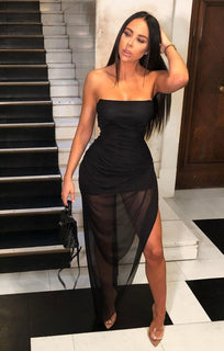 Black Bandeau Split Leg Ruched Maxi Dress - Tanya