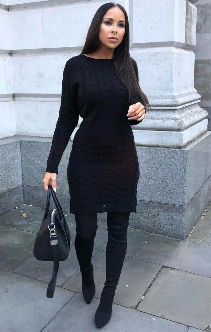 Black Cable Knit Jumper Dress - Winter
