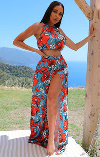 Floral Maxi Split Leg Two Piece Co-ord Set - Leila