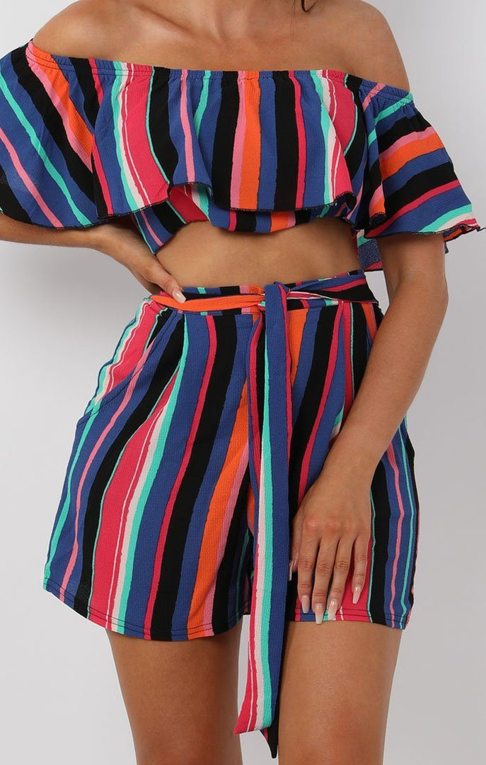 Blue-Multistripe-Bardot-Two-Piece-Set-Elan