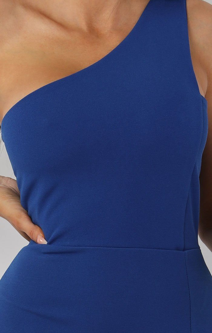 Blue One Shoulder Midi Dress - Sorcha