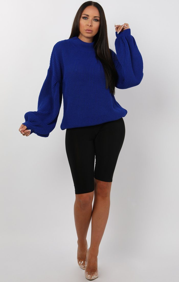 Blue Oversized Bloom Sleeve Knitted Jumper - Roisin