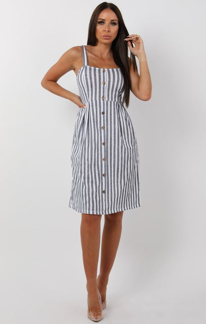 Blue Striped Button Detail Midi Tea Dress - Farah