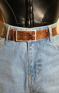 Brown Animal Snake Print Belt - Kelsey