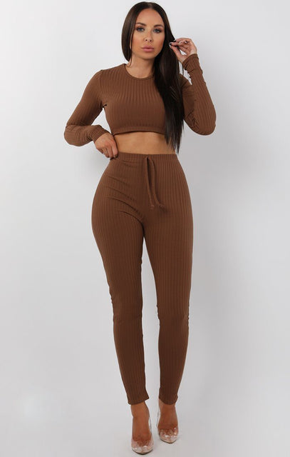 Brown Cropped Long Sleeve Loungewear Set - Joanne