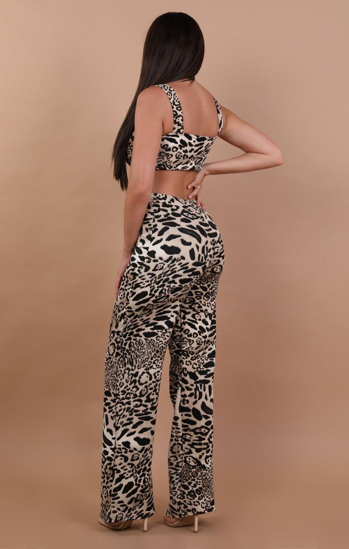 Brown Animal Leopard Crop Top And Trousers Co-Ord Set - Faith