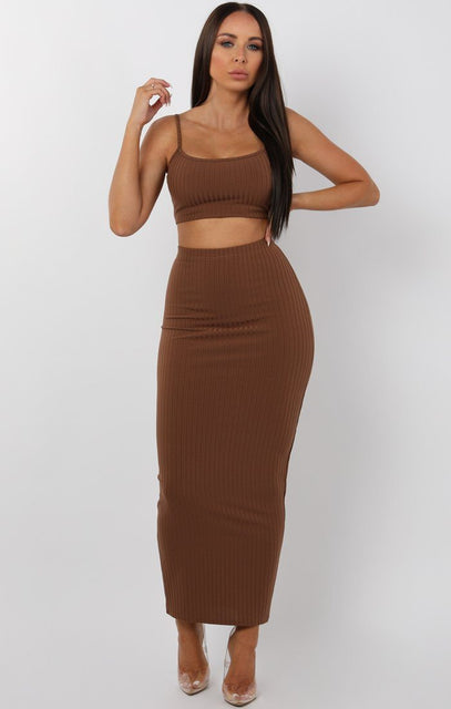 Brown Maxi High Waist Skirt Two Peice Set - Paula