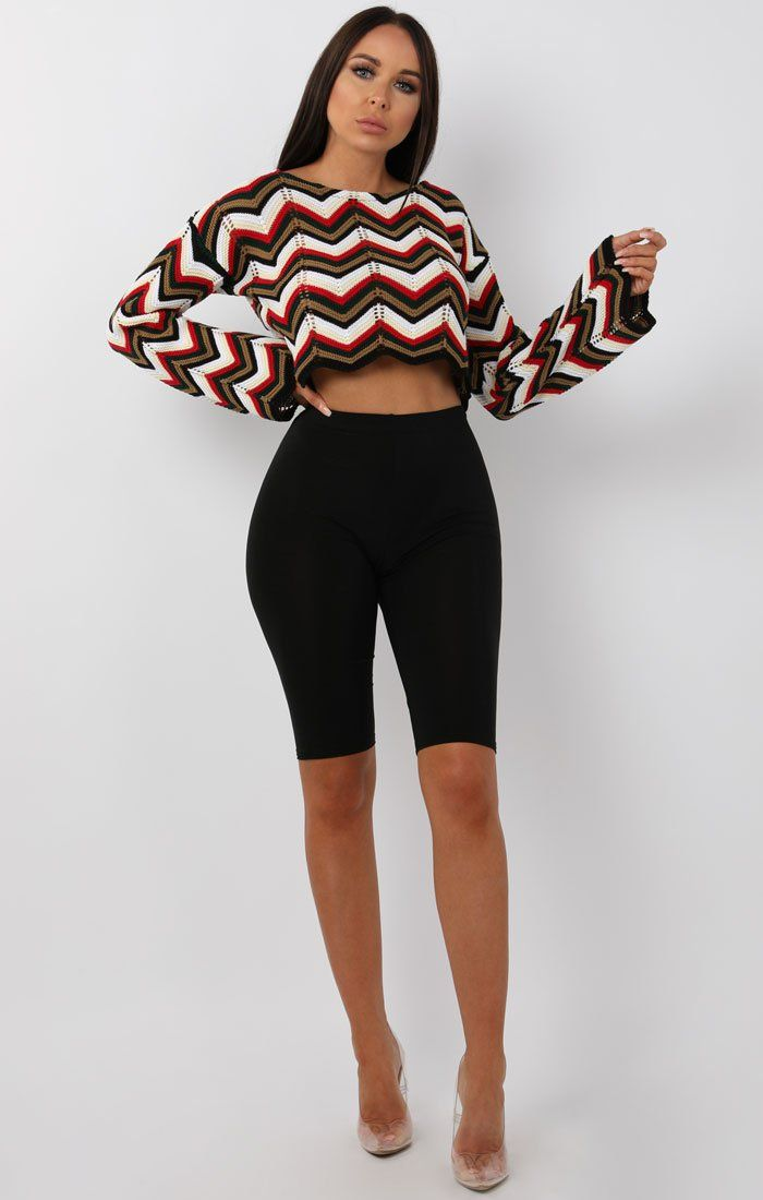 Brown Multicolour ZigZag Cropped Knit Jumper - Eavan
