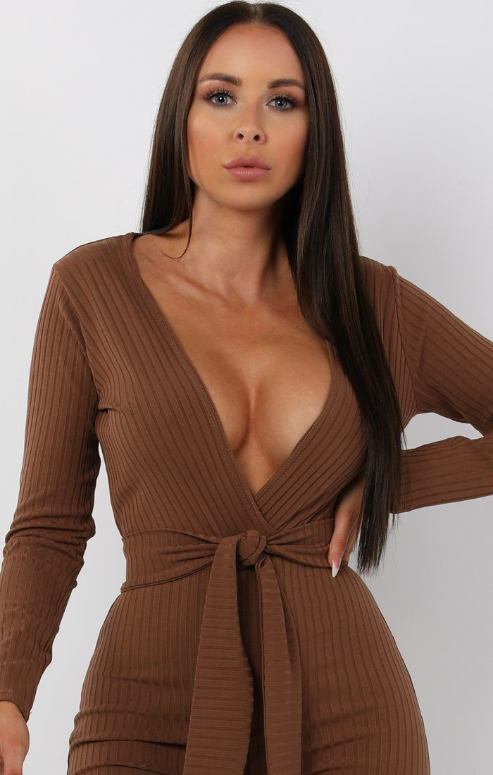 Brown Slim Belted Jumpsuit - Teagan