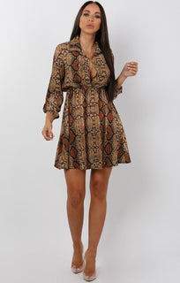 Brown-Snake-Print-Button-Up-Tea-Dress-Ann