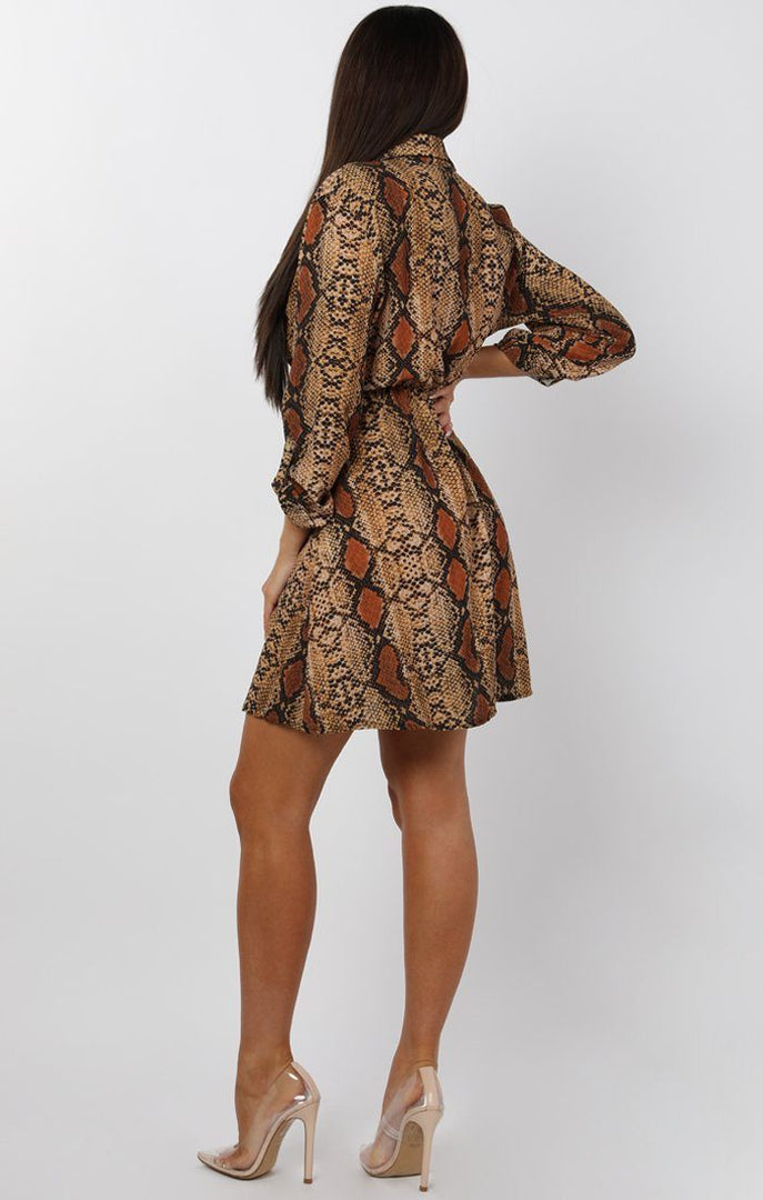 Brown Animal Snake Print Button Up Tea Dress - Ann