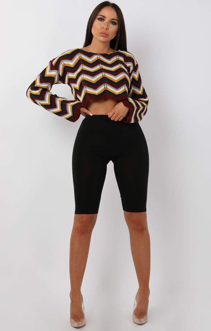 Burgundy Multicolour ZigZag Cropped Knit Jumper - Eavan