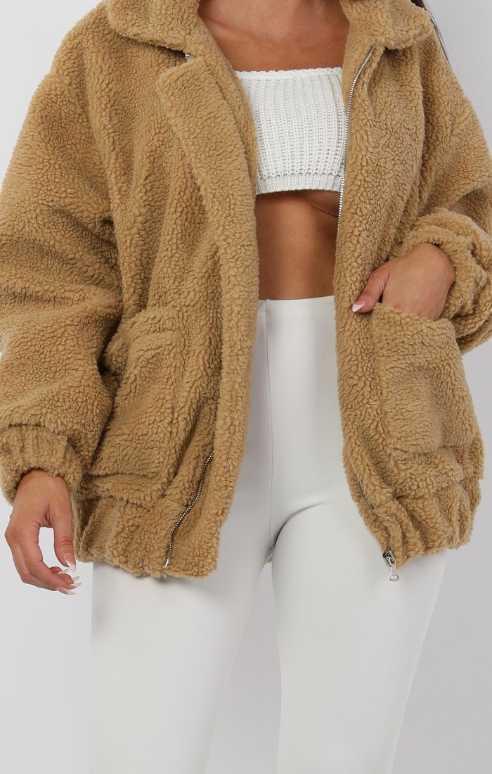 Camel Teddy Pocketed Zip Jacket - Jane
