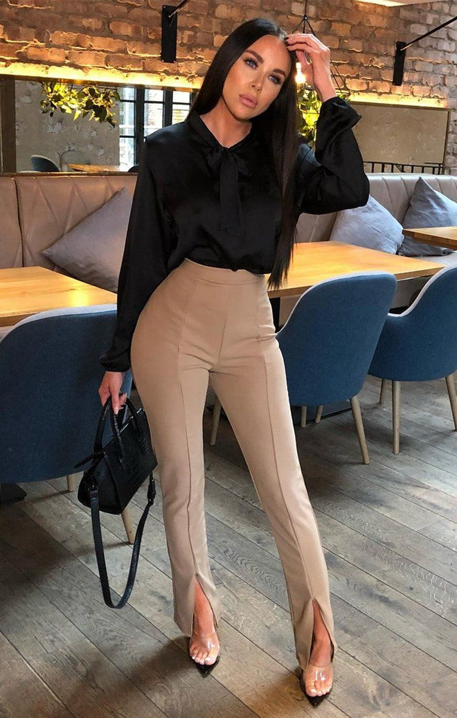 Camel Long Split Fitted Trousers - Gianna