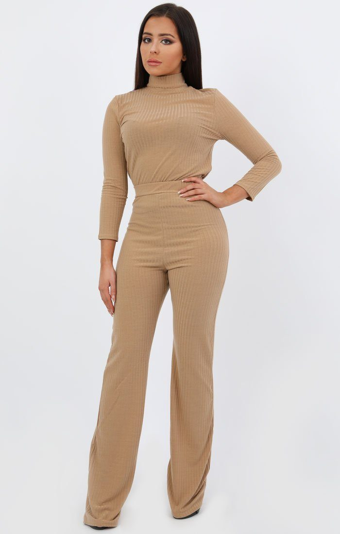Camel Ribbed High Neck Loungewear Set - Esmerelda