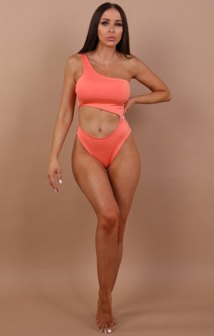 Coral One Shoulder Cut Out Swimsuit - Skye