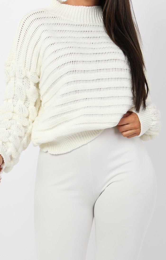 Cream Bobble Stitch Knitted Jumper - Sandy
