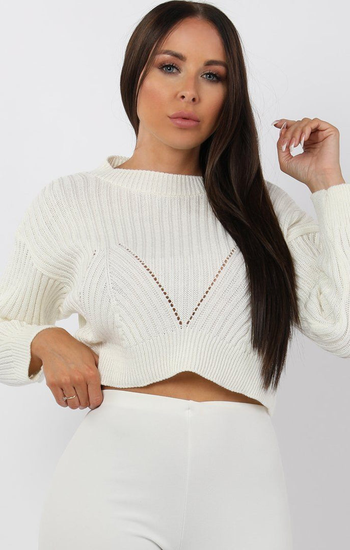 Cream Cable Knit Cropped Jumper - Ivy